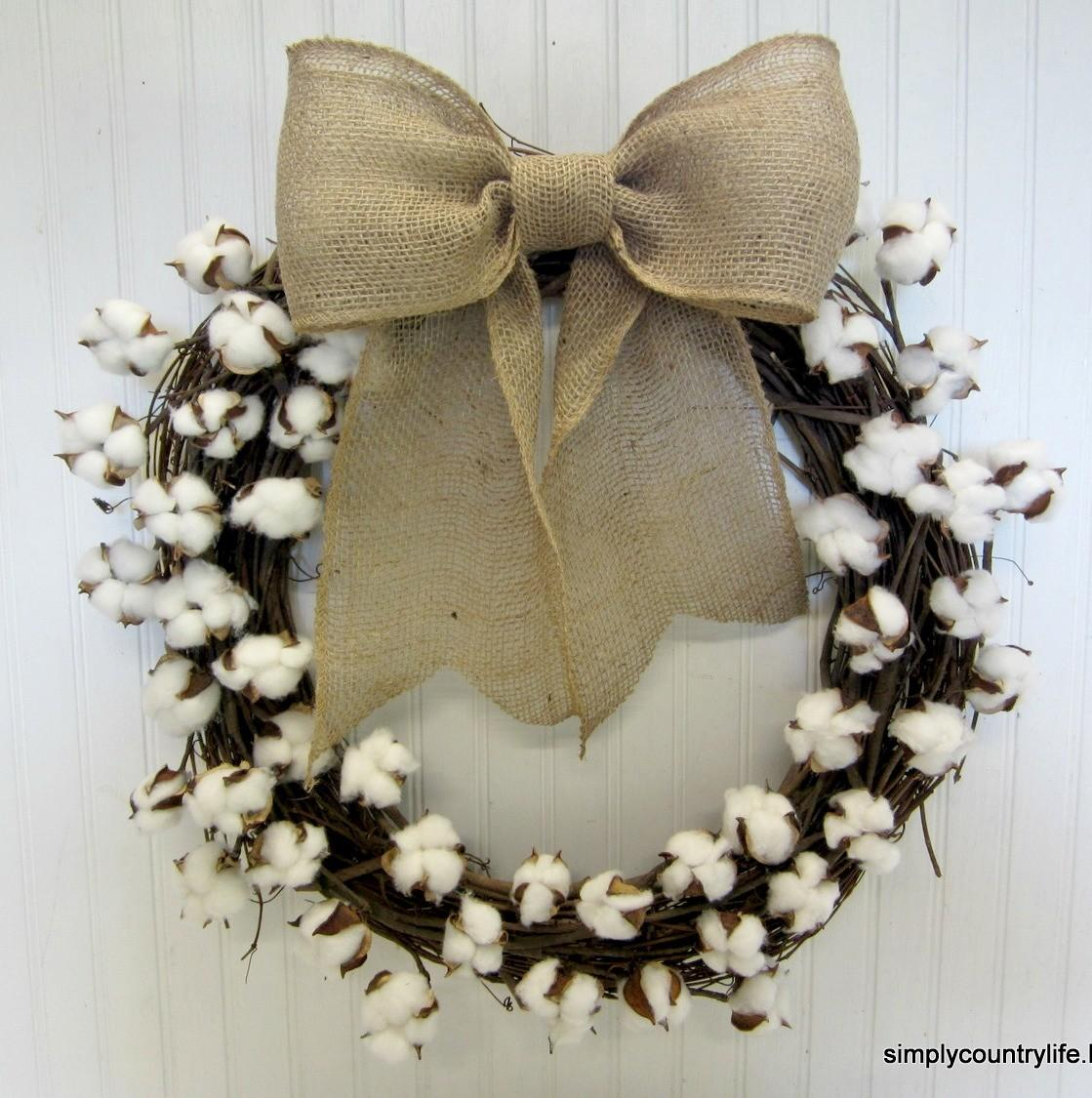 Make Your Own Cotton Boll Branch Wreath Hometalk