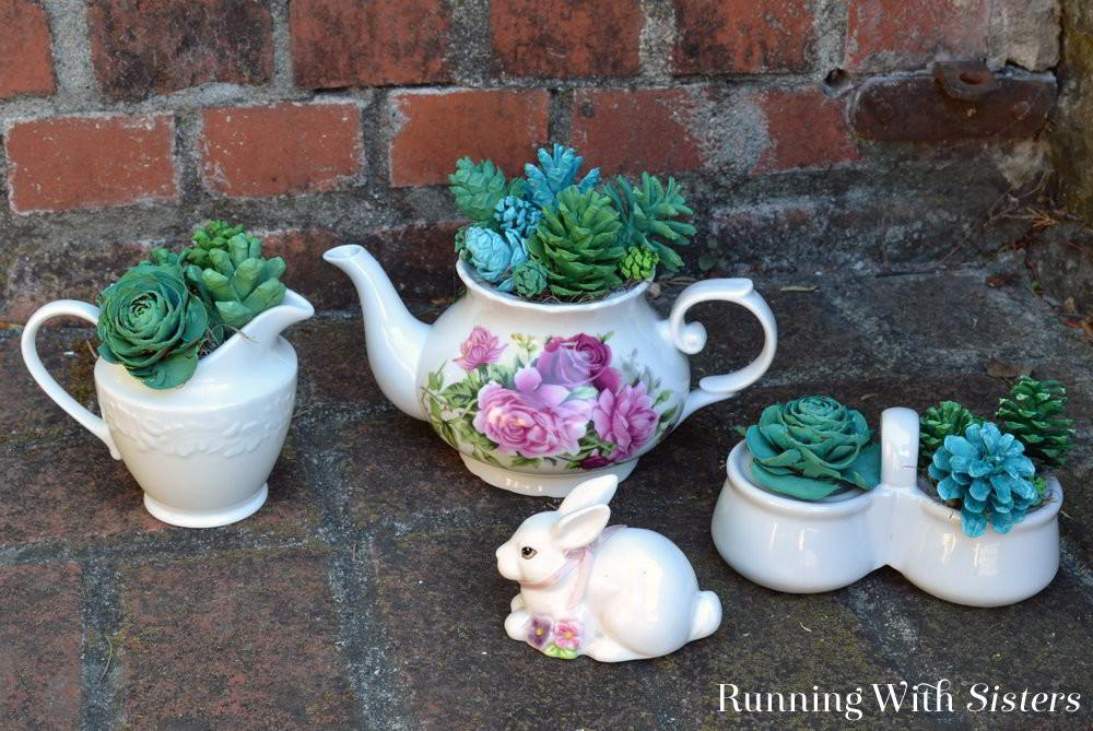 Make Your Own Pine Cone Succulents Running Sisters