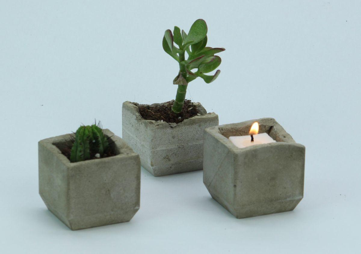 Make Your Own Trendy Concrete Plant Candle Holders