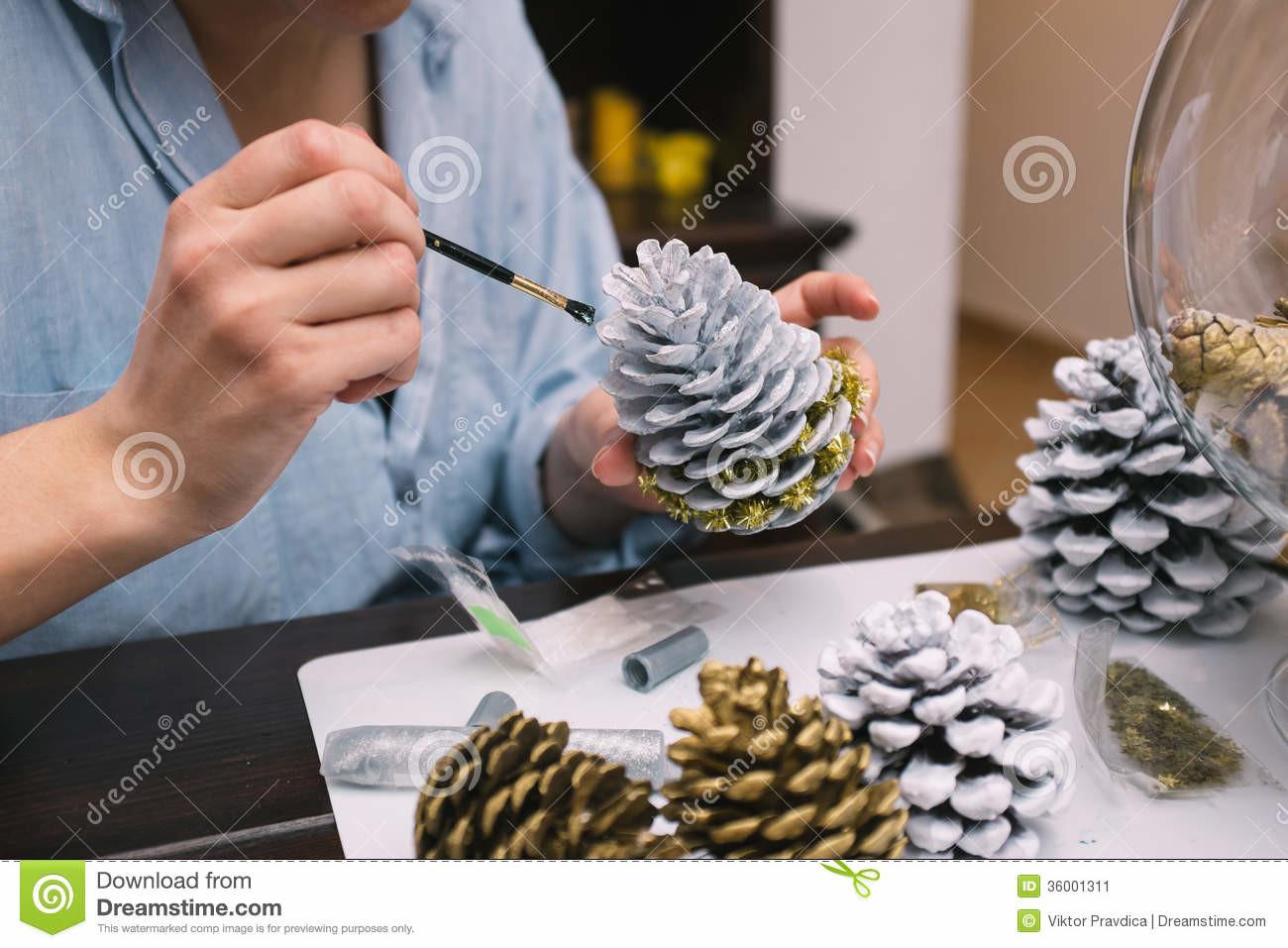 Making Decorations Christmas Stock