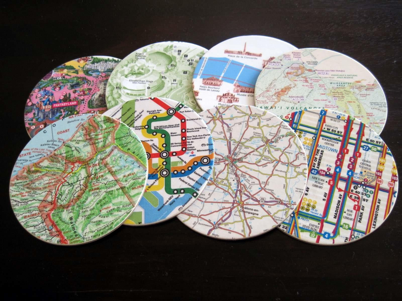 Map Coasters Memories Almost Never Clever
