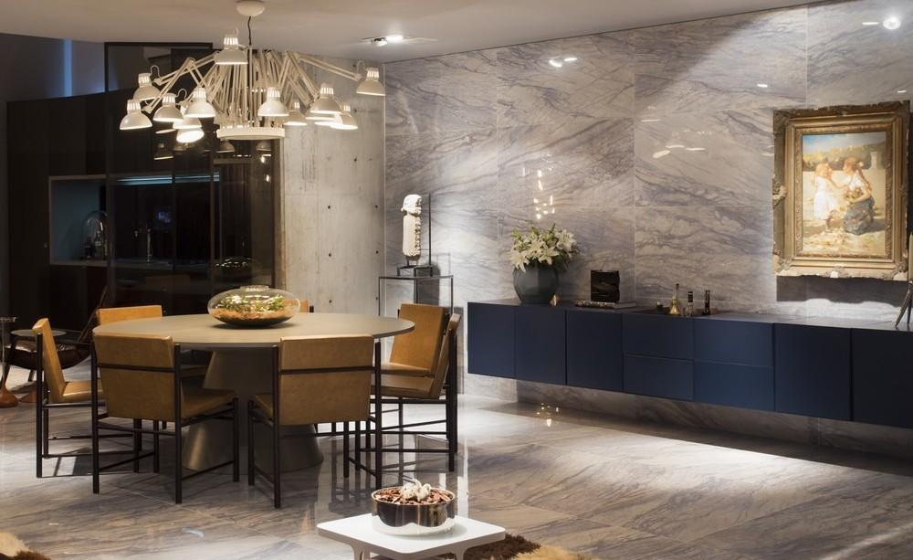 Marble Wall Floor Tiles Dining Area Lighting