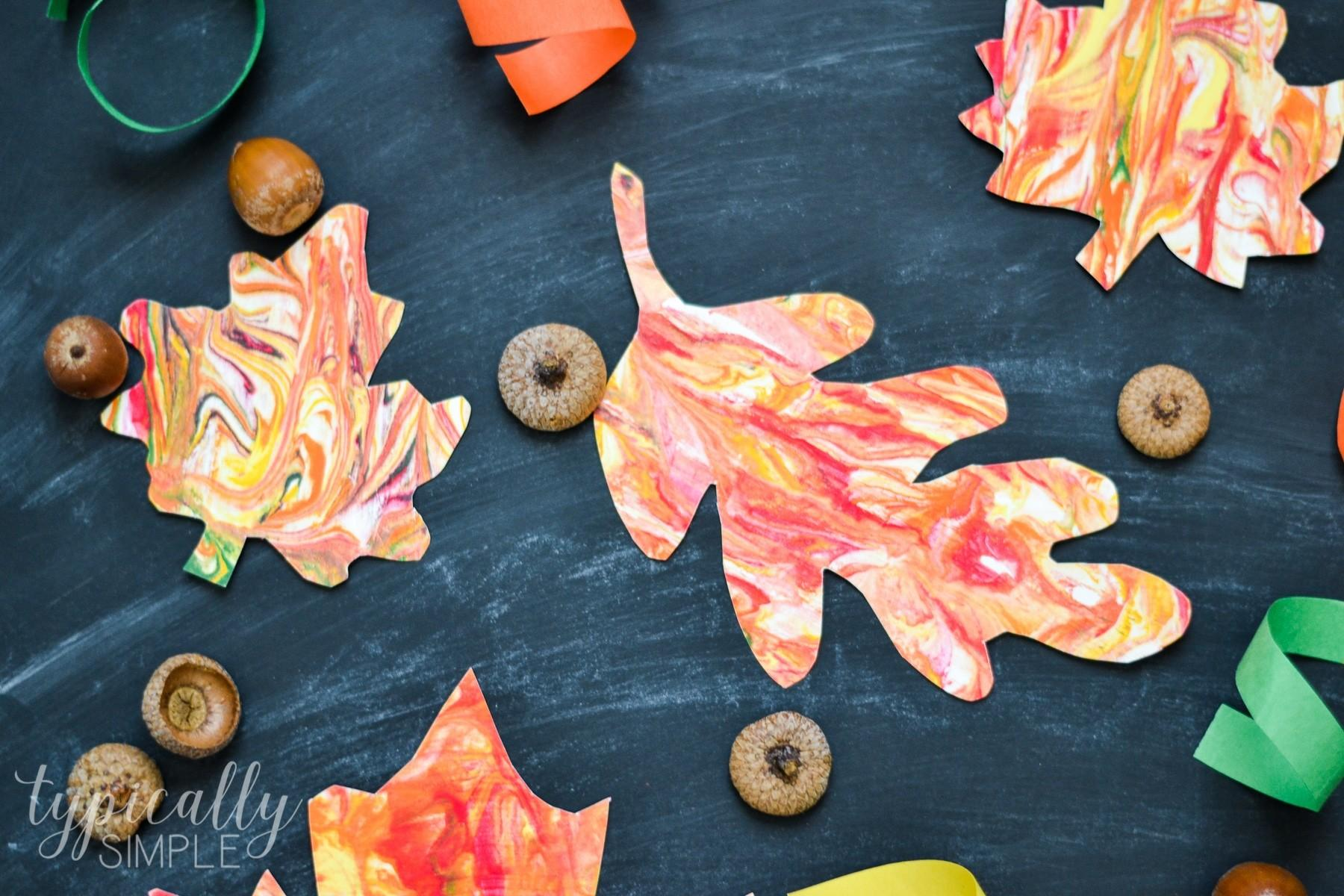 Marbled Paper Fall Leaves Kids Craft Typically Simple