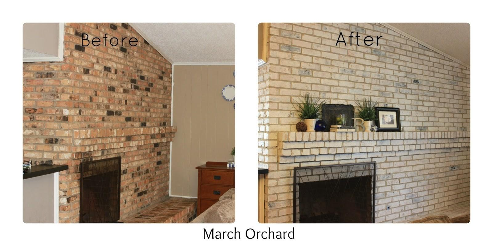 March Orchard White Wash Brick Fireplace