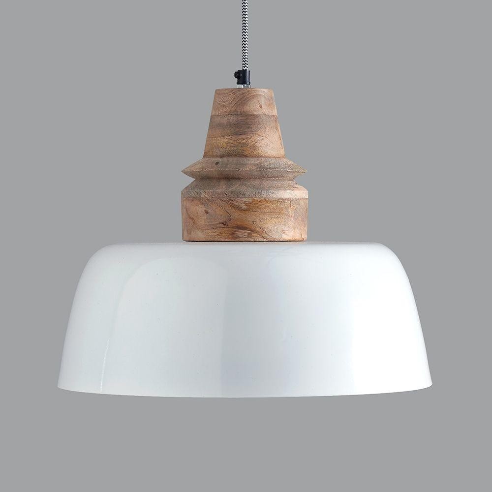 Margo White Wood Pendant Light