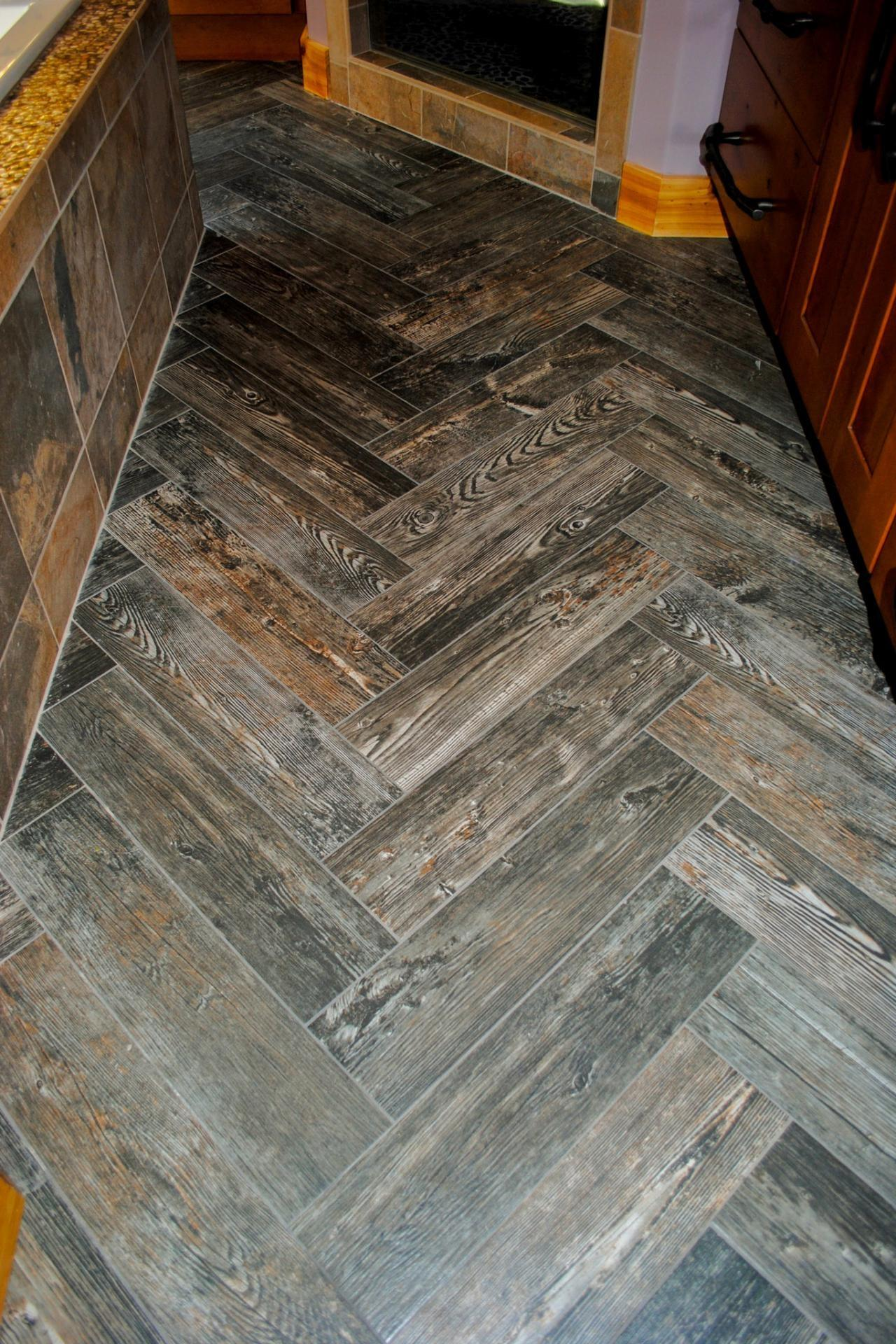 Marvelous Grey Laminate Wooden Herringbone Tile Floor