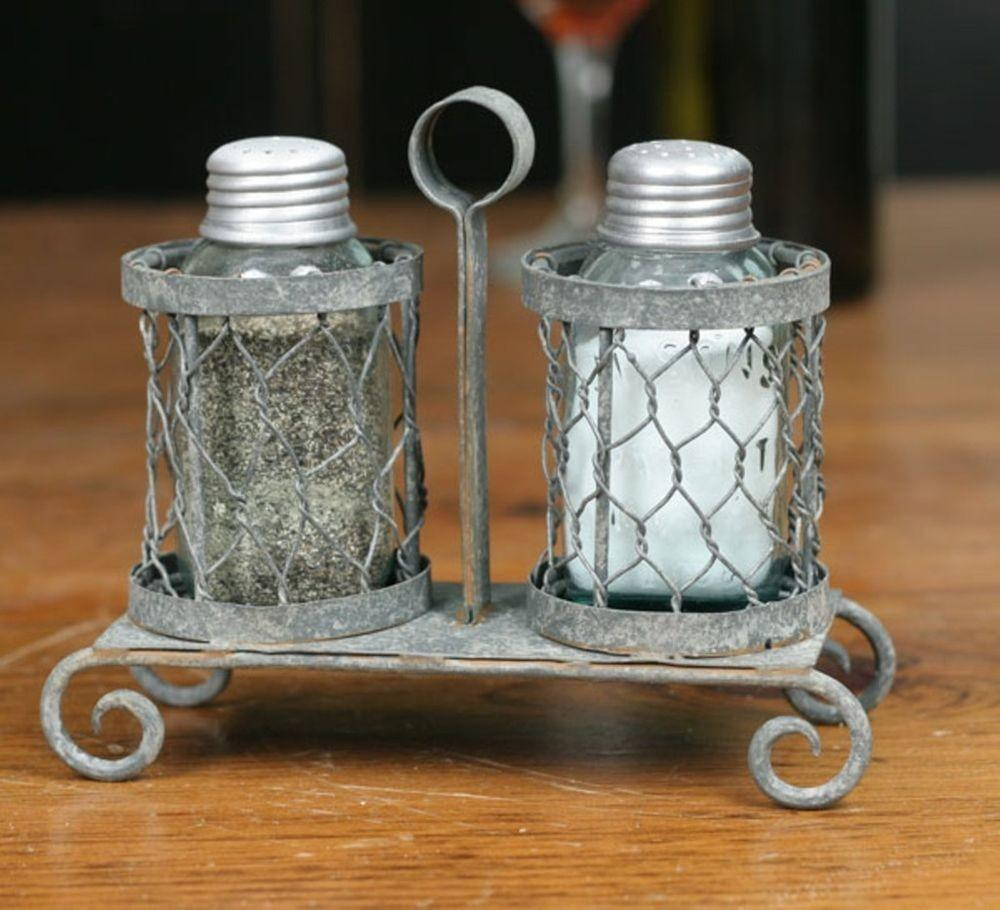Mason Fruit Jar Chicken Wire Salt Pepper Shakers Caddy