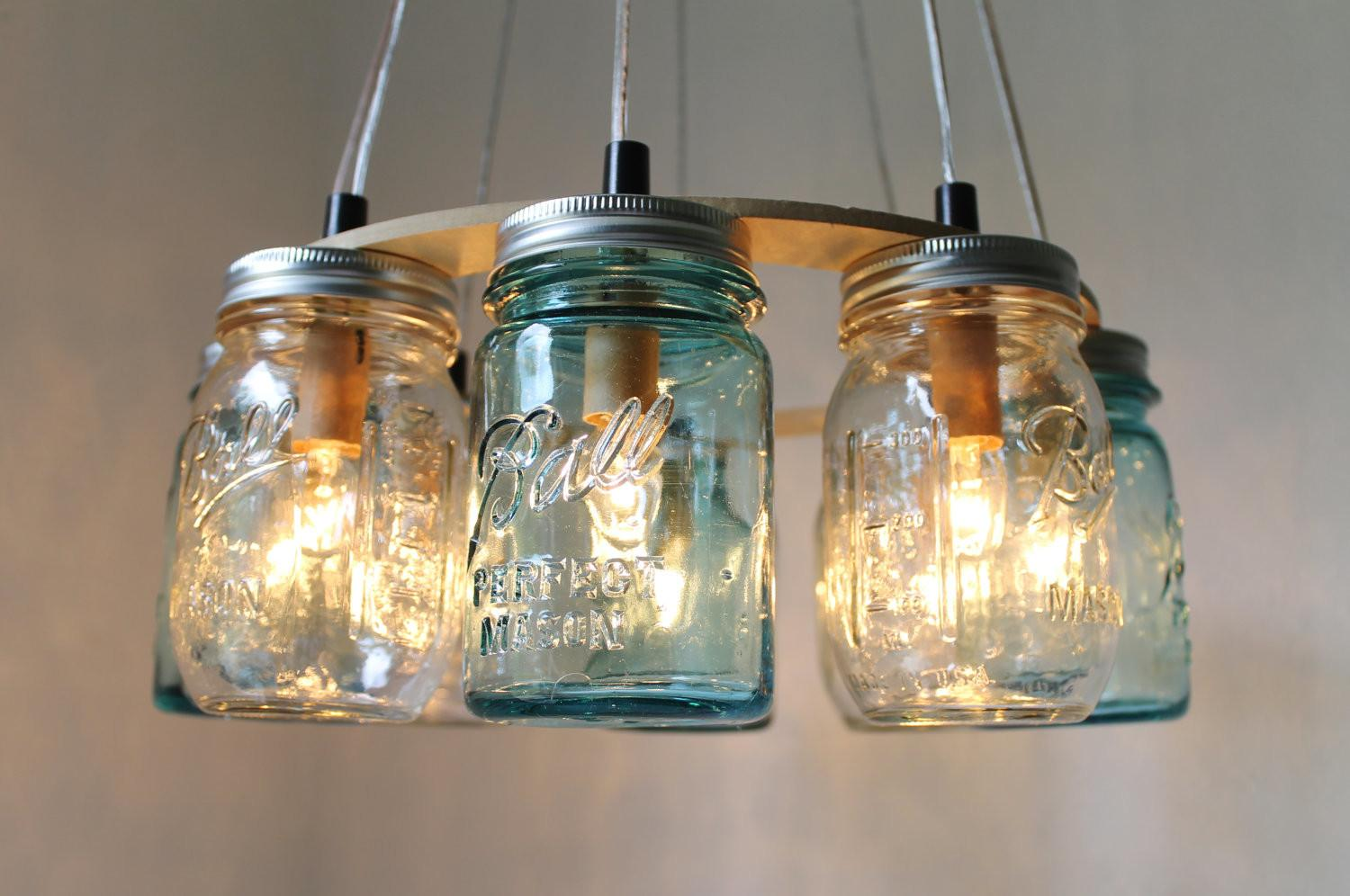 Mason Jar Chandelier Beach House Lighting Fixture