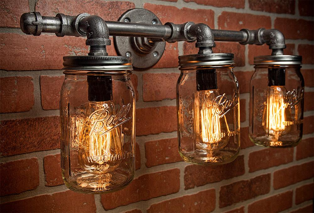 Mason Jar Light Fixture Industrial Rustic