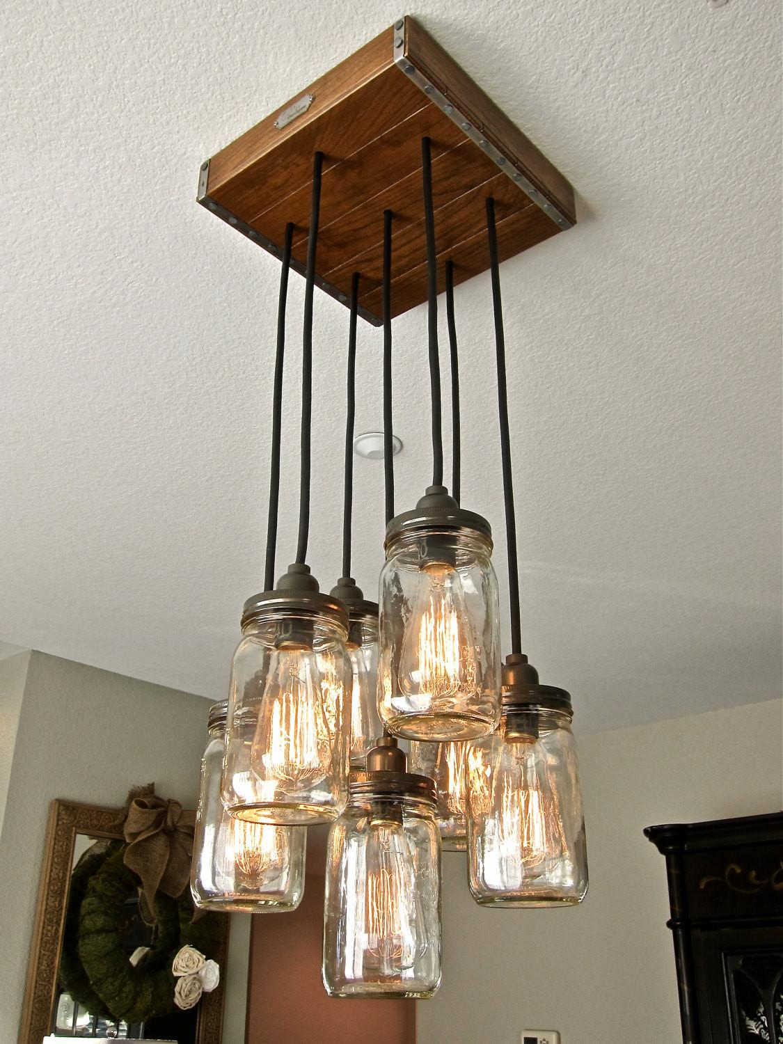 Mason Jar Pendant Light Chandelier Rustic Style Hardwood