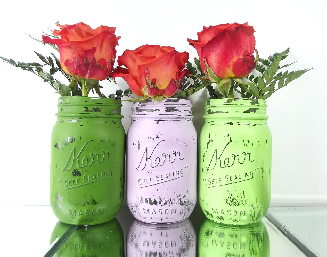 Mason Jar Set Easter Decorations Cottage Chic Curiouscarrie
