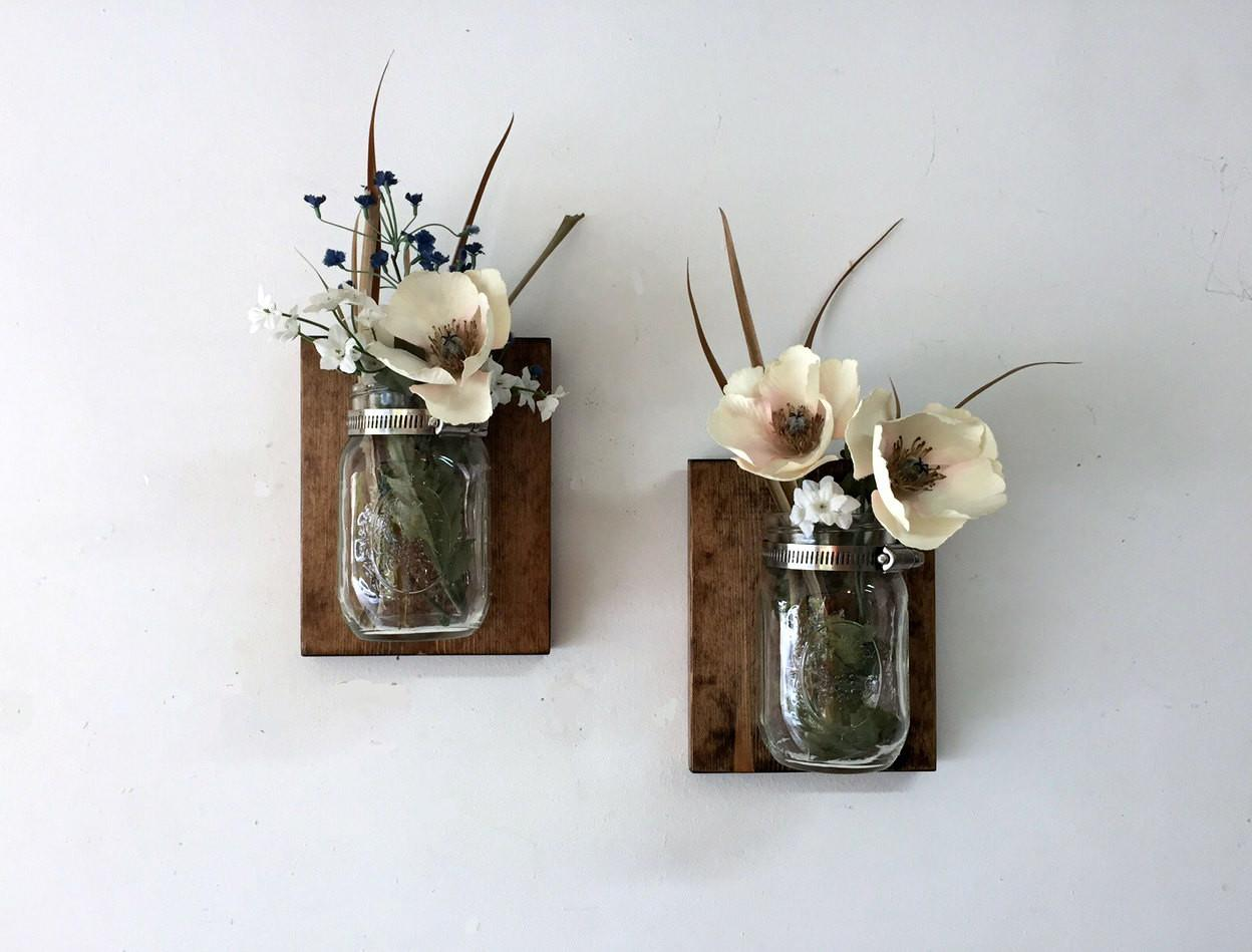 Mason Jar Vase Set Sconce Wall
