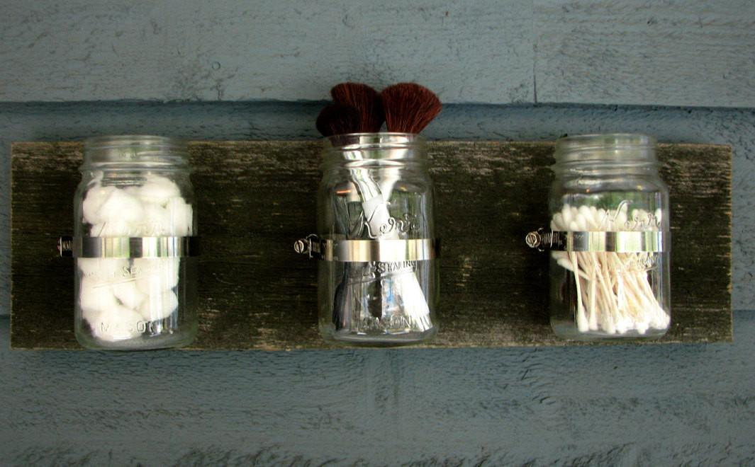 Mason Jar Wall Hanging Organizer Decor Planter