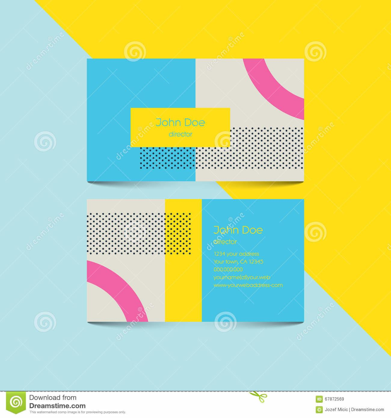Material Design Business Card Template 80s Style