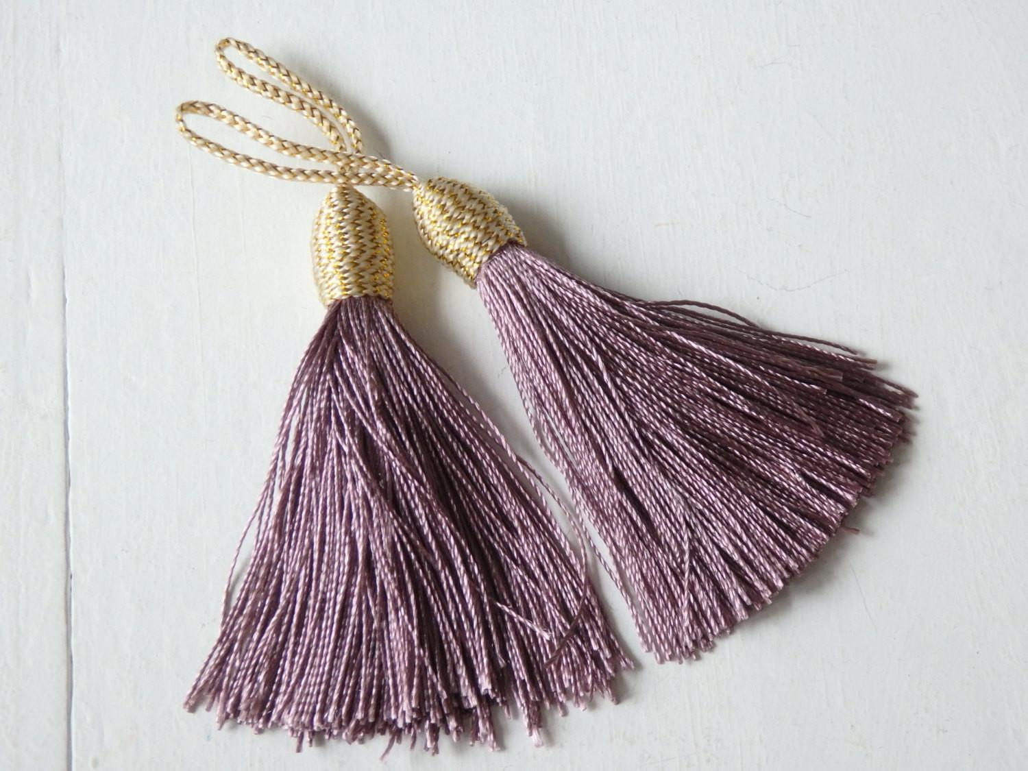 Mauve Silky Tassels Gold Thread Detail Two