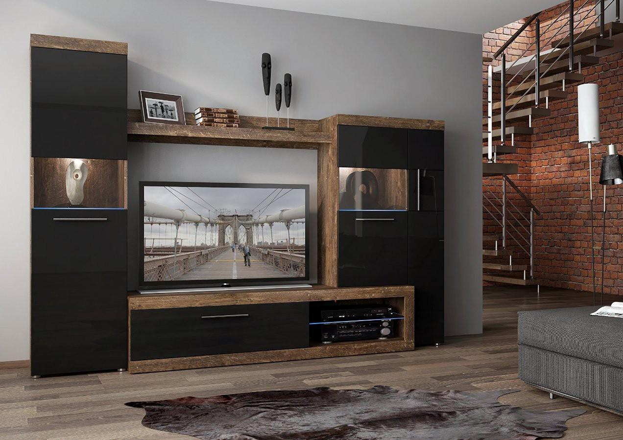 Mdf Black Gloss Front Wall Unit Sicily 100 Furnish House