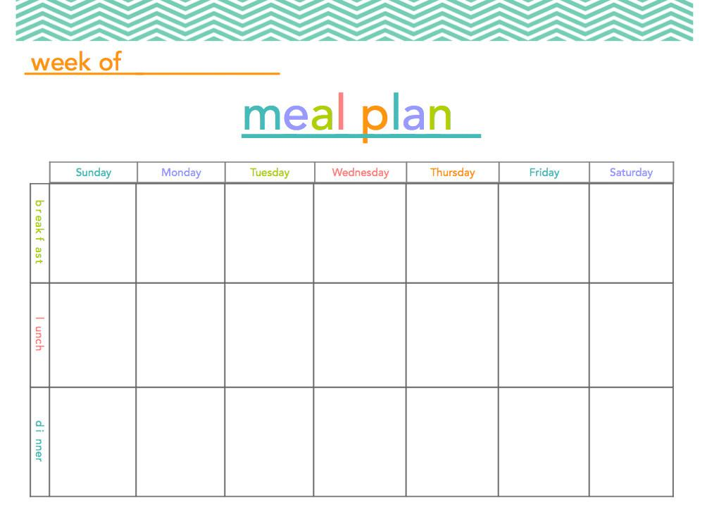 Meal Plan Printable All Things Mamma