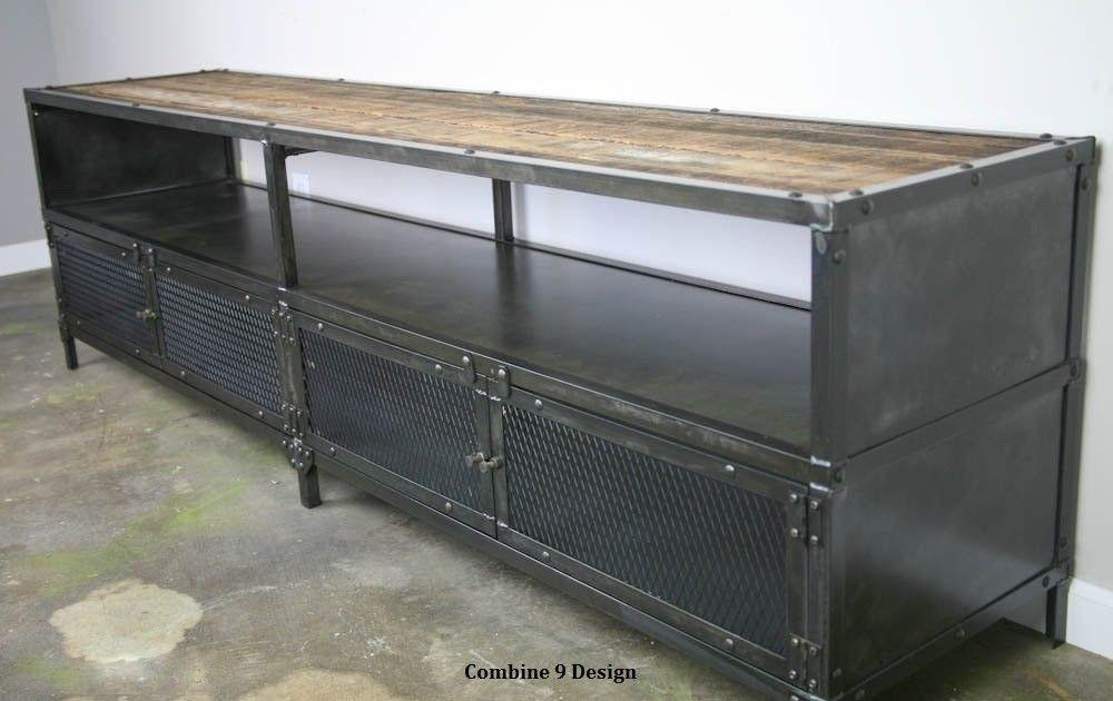 Media Console Stand Vintage Industrial Reclaimed Wood