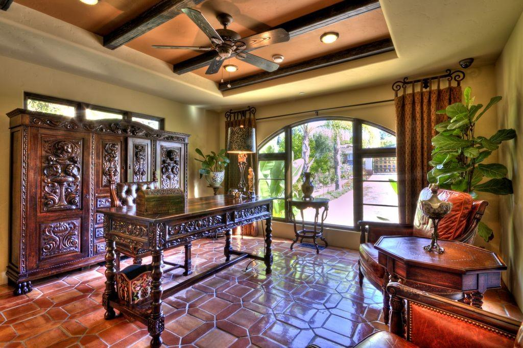 Mediterranean Home Office Exposed Beam Jay Andre