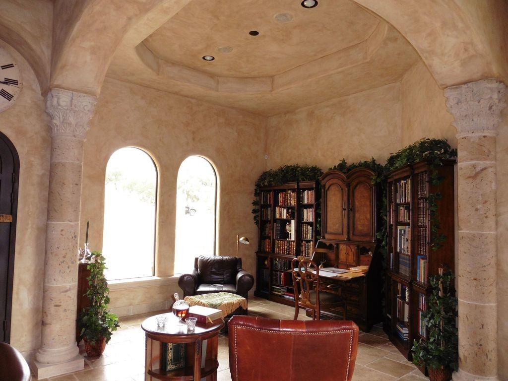 Mediterranean Home Office High Ceiling Arched