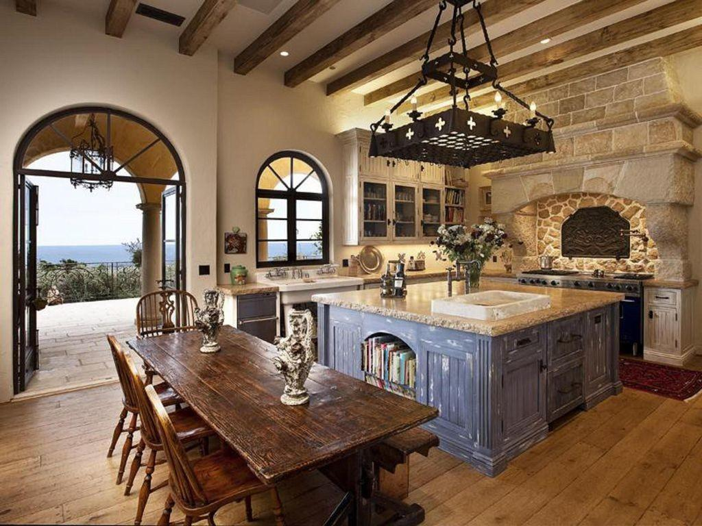 Mediterranean Kitchen High Ceiling Simple Granite