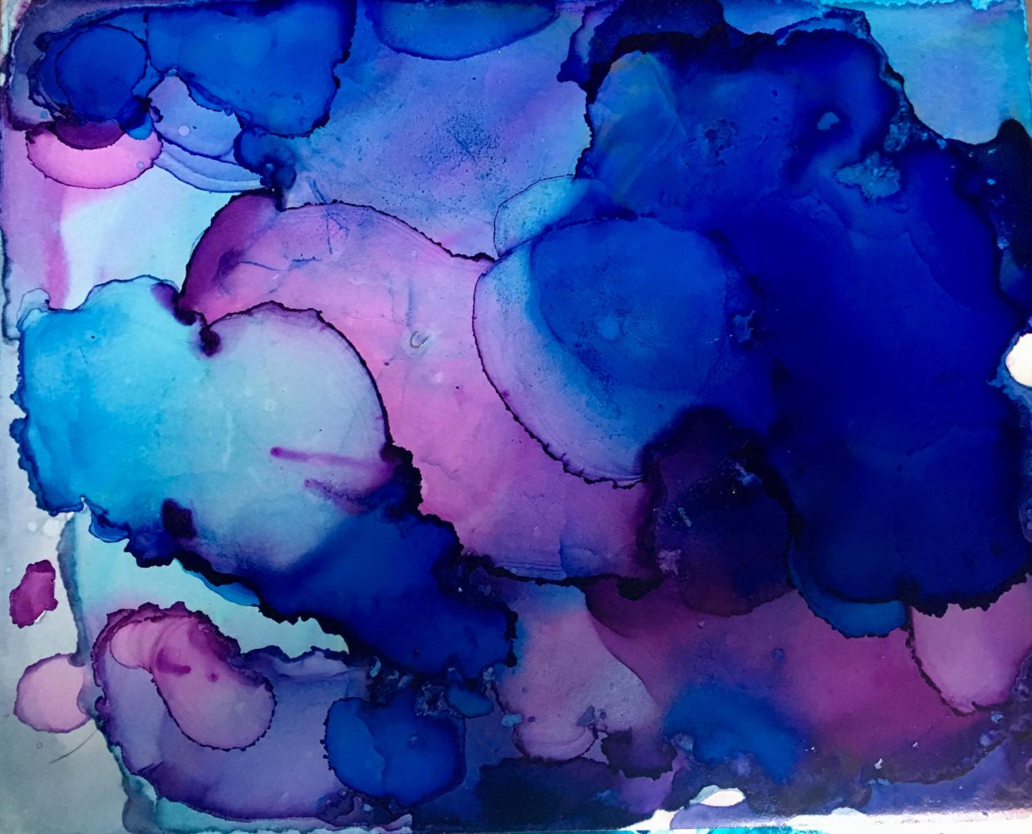 Medium Abstract Alcohol Ink Painting Colorful One Kind