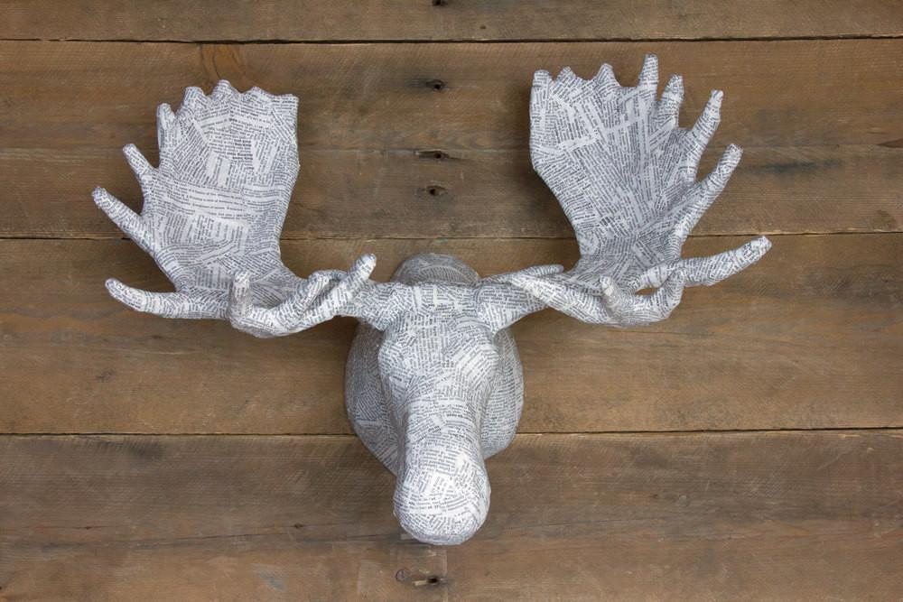 Medium Paper Mache Animal Head Sculpture Moose