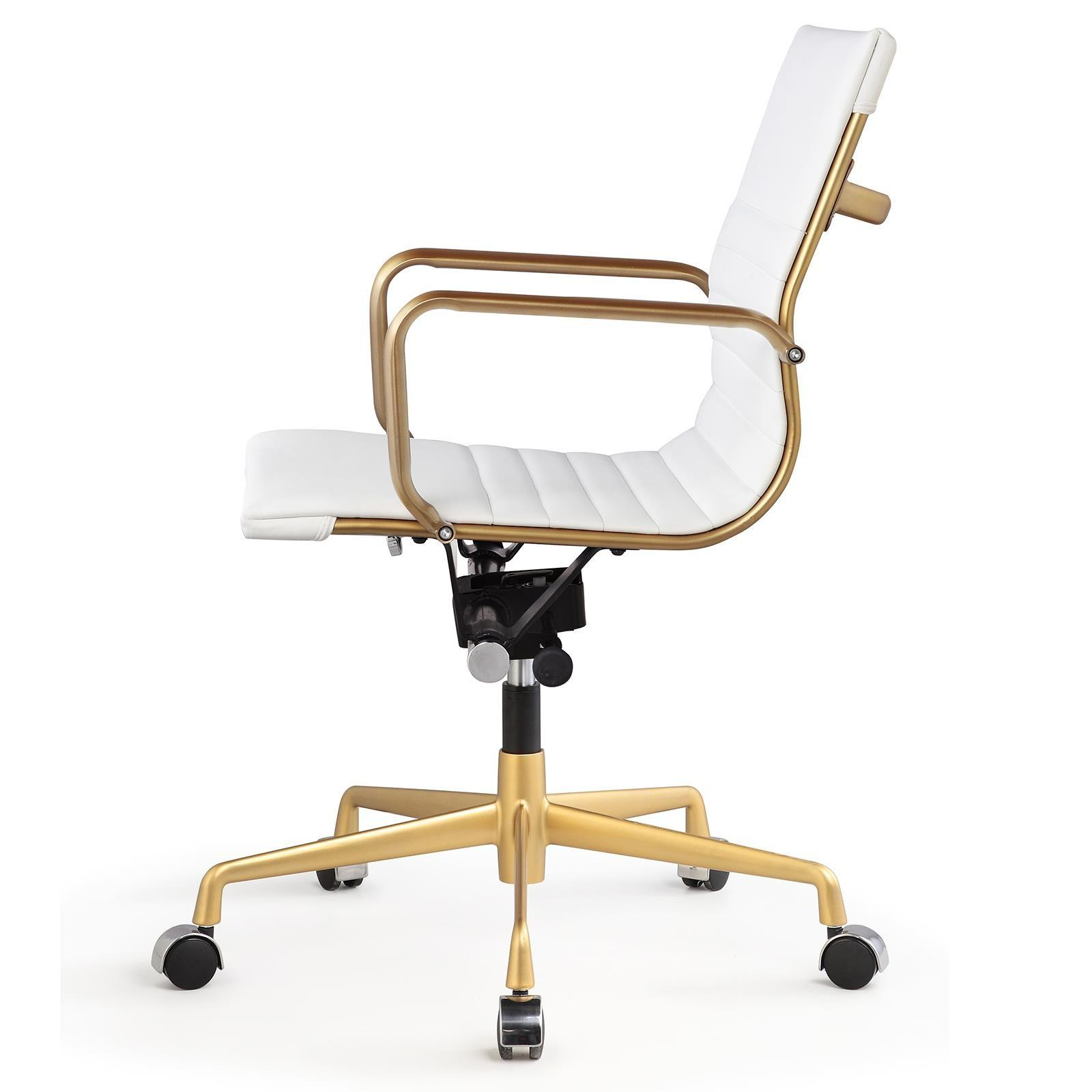 Meelano M348 Office Chair Gold White Vegan Leather