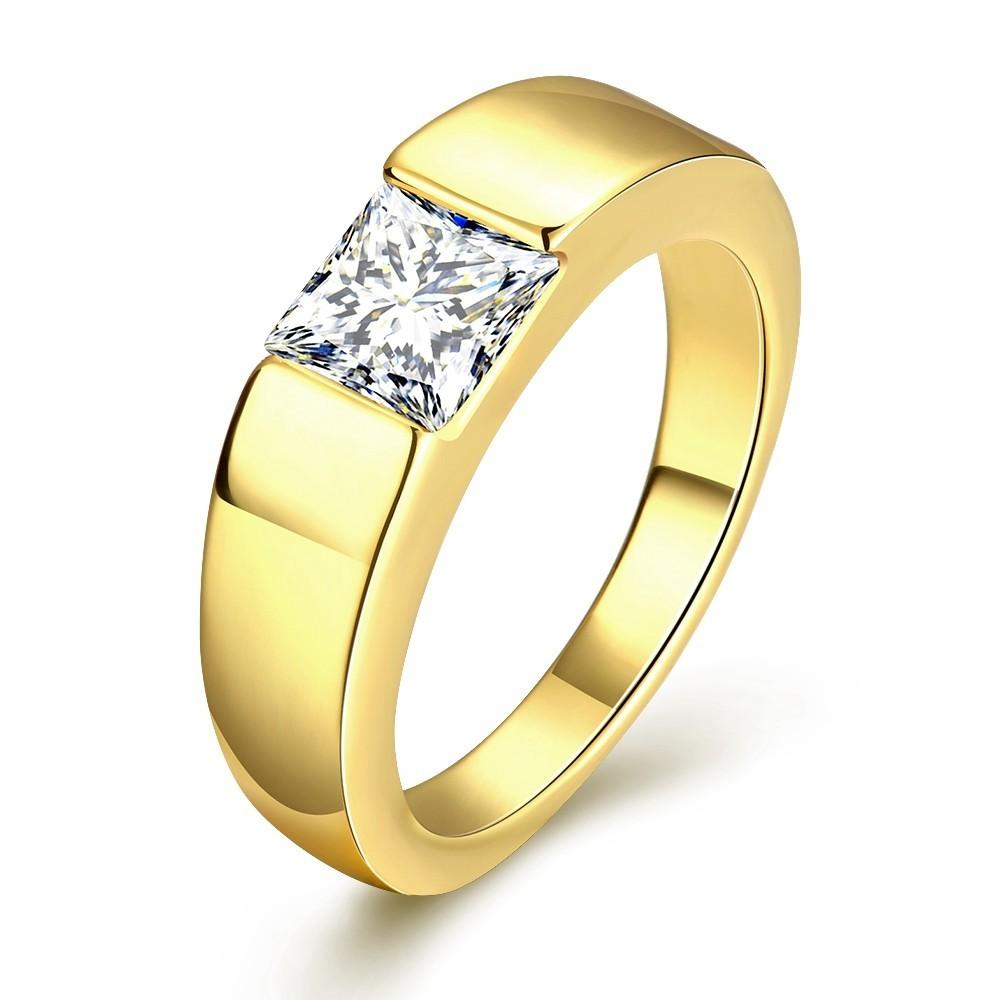 Megrezen Engagement Ring Stone Men Cubic Zirconia Wedding