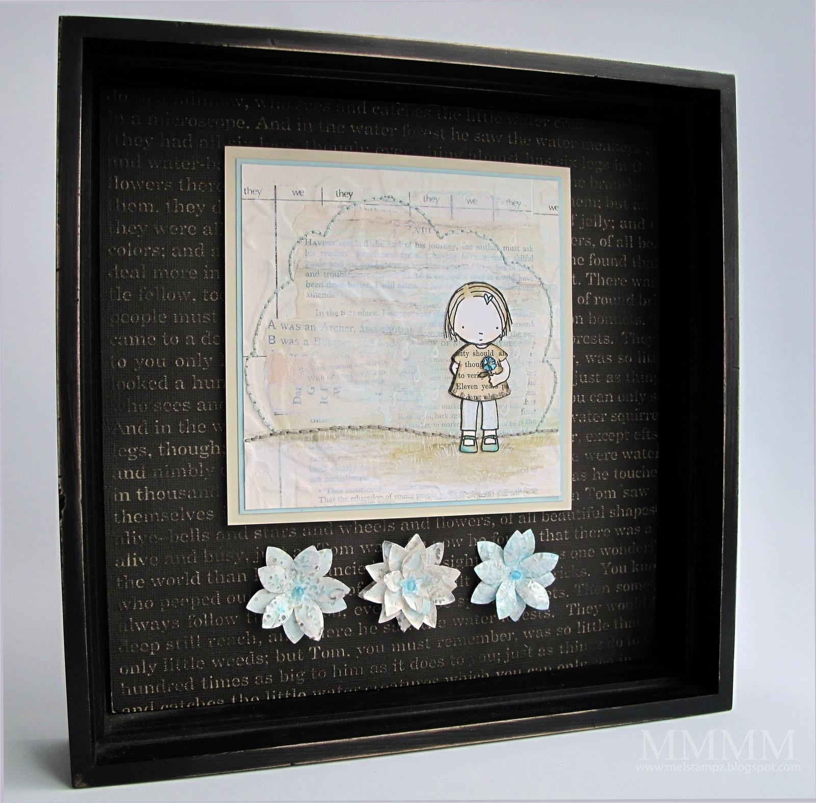 Mel Stampz Challenges Pure Innocence Collage Shadow Box
