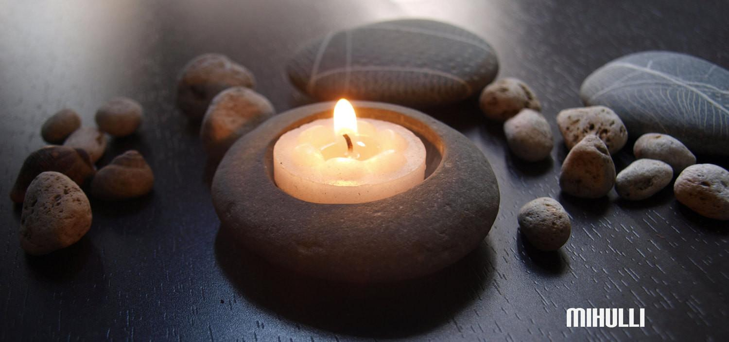 Melody7 Beach Stone Pebble Candle Holder Simple