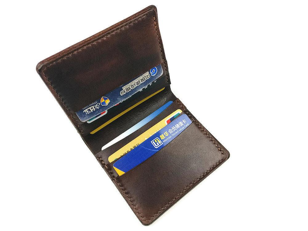 Mens Bifold Leather Wallets Minimal Design Credit Card