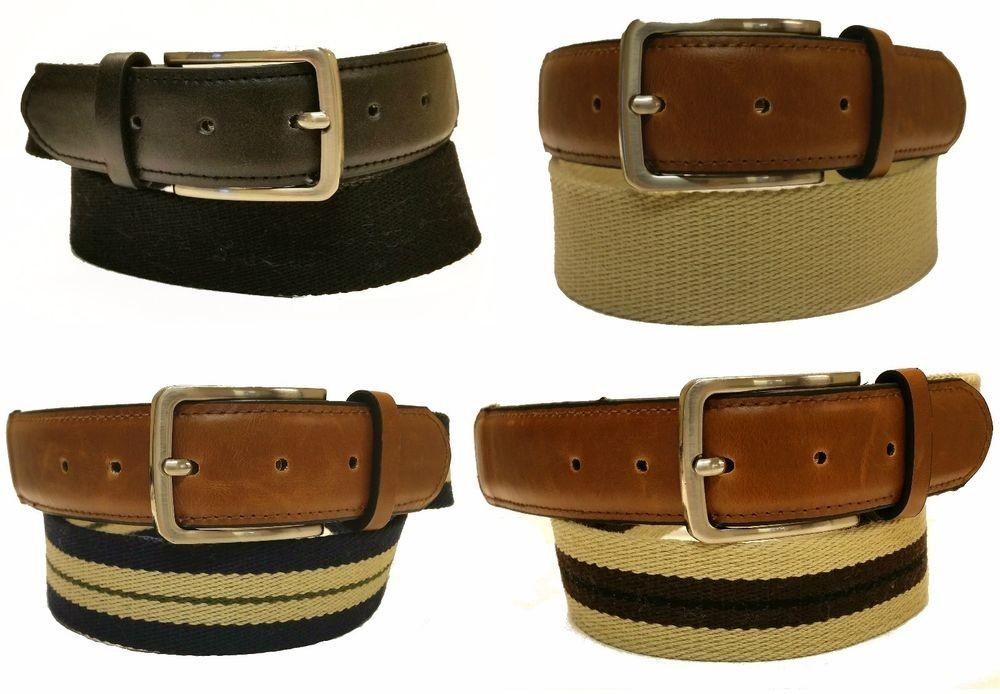 Mens Canvas Leather Braided Belt Metal Buckle Assorted