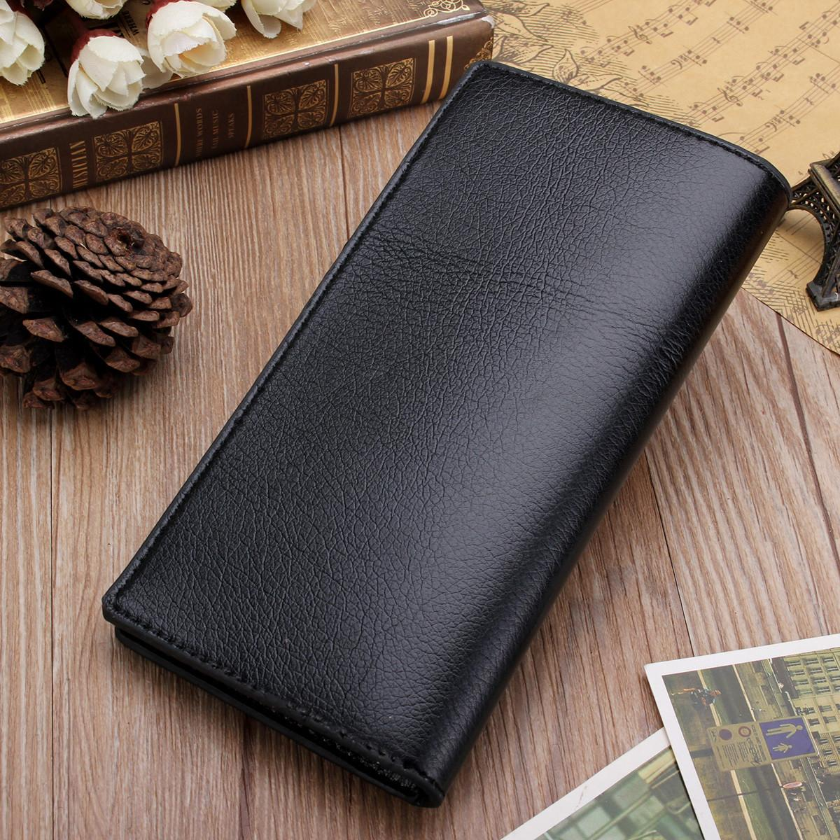 Mens Wallets Luxury Leather Long Coin Purses Vintage Style