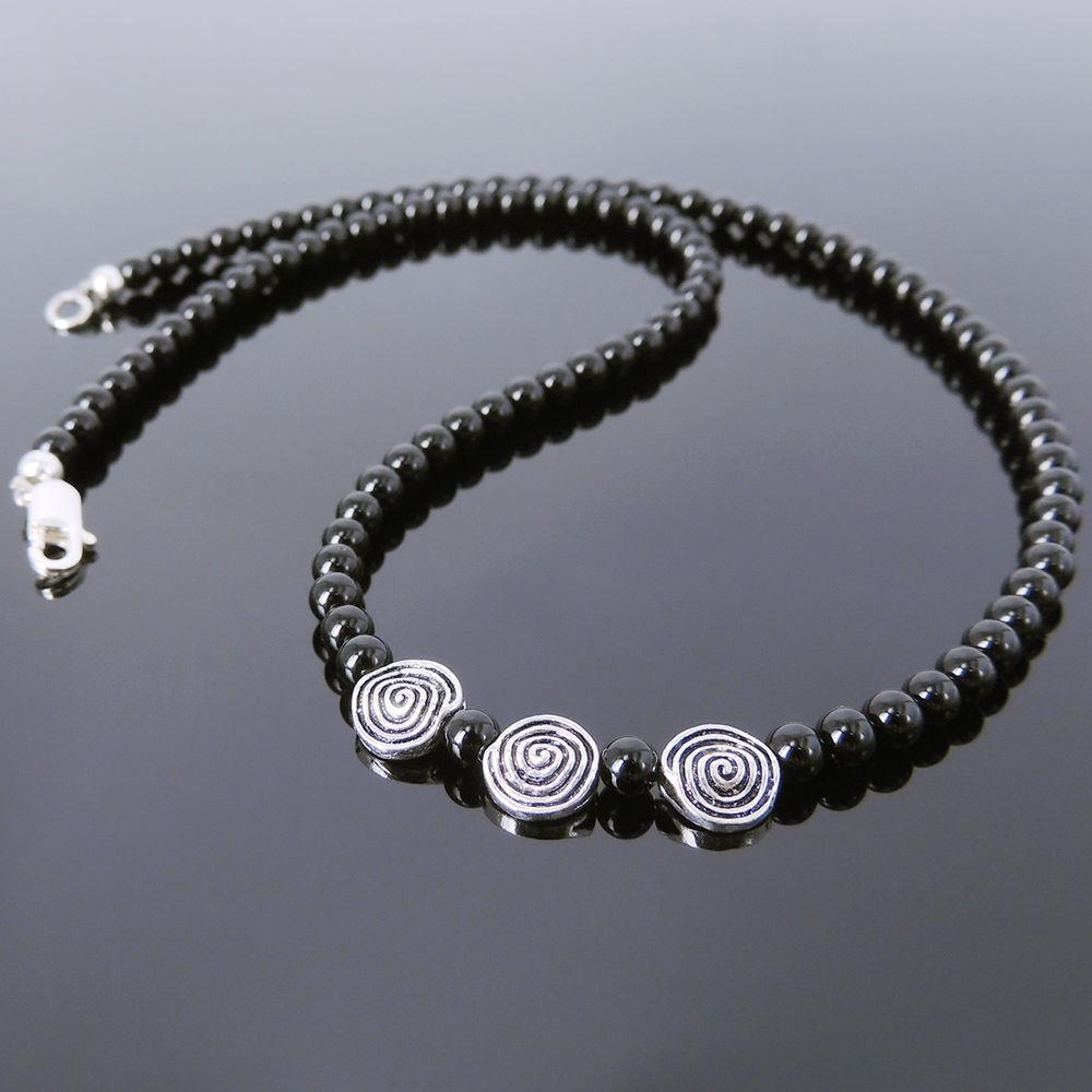 Mens Women Bright Black Onyx Sterling Silver Necklace 4mm