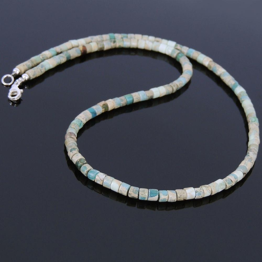 Mens Women Natural Jasper Stone Sterling Silver Necklace