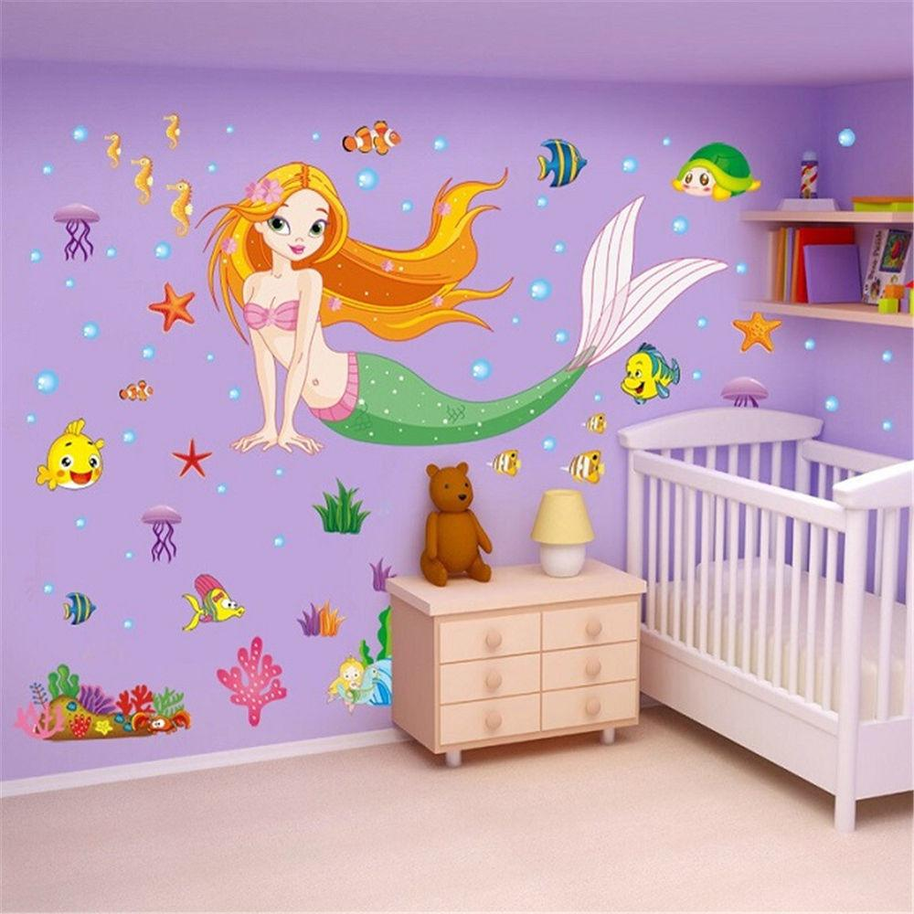 Mermaid Cartoon Removable Decals Wall Stickers Mural Art