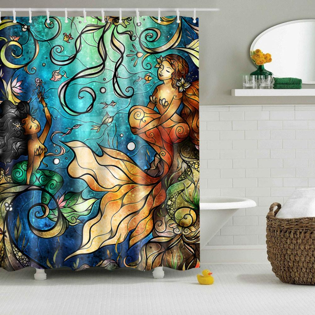 Mermaid Pattern Polyester Bathroom Shower Curtain Sheer