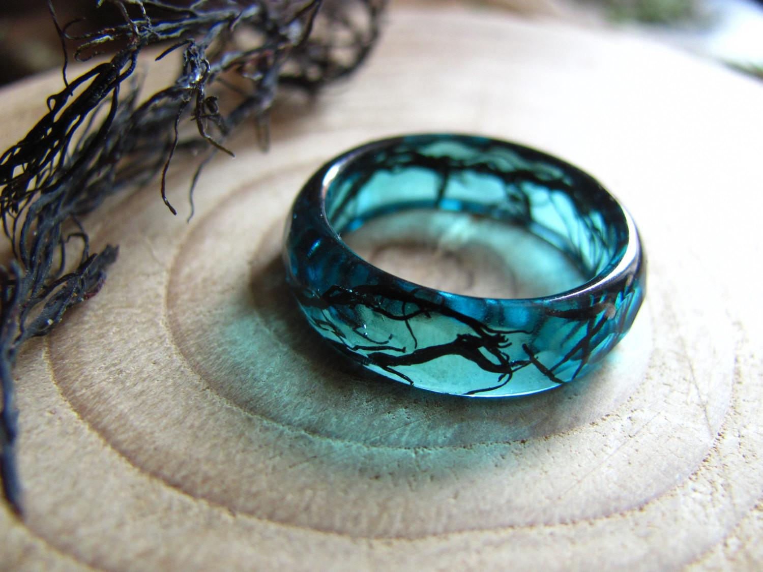 Mermaid Ring Ocean Resin Nature Jewelry