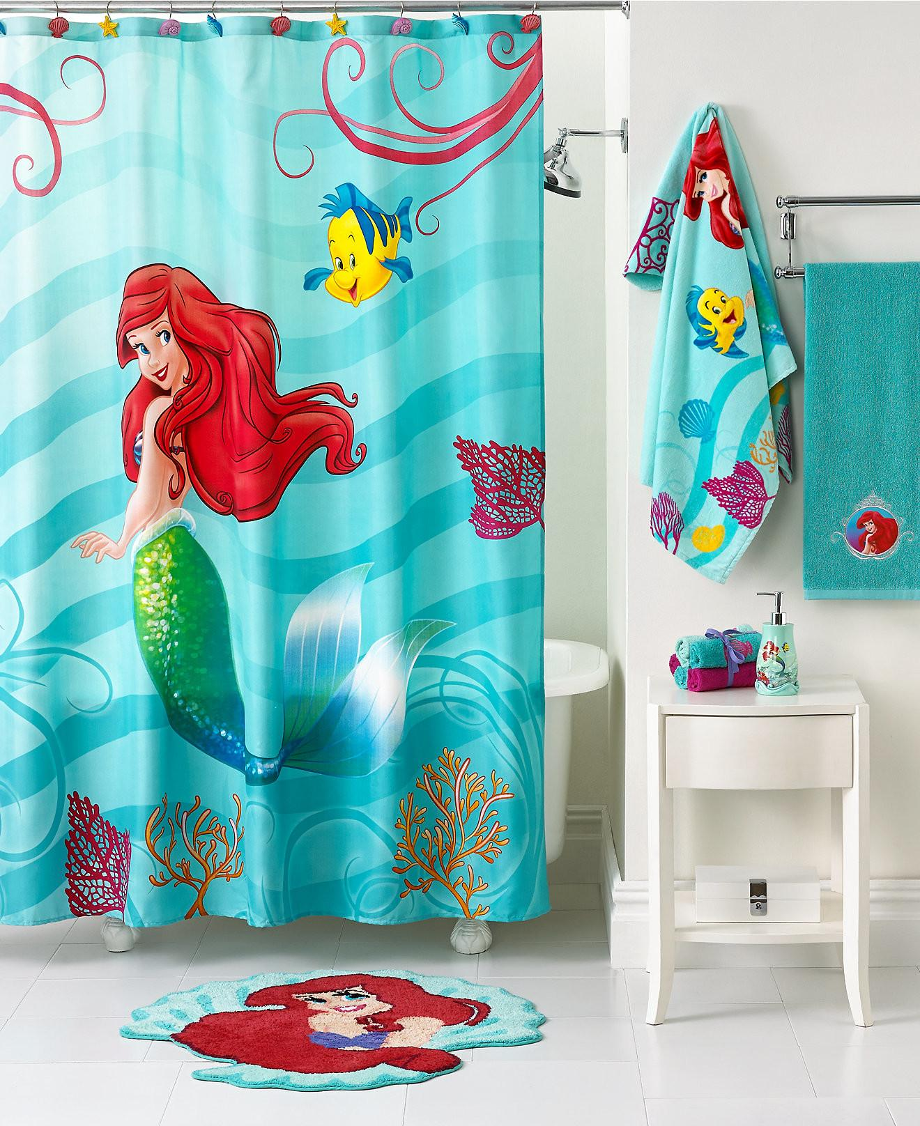 Mermaid Shower Curtain Kids Bathroom Decor White