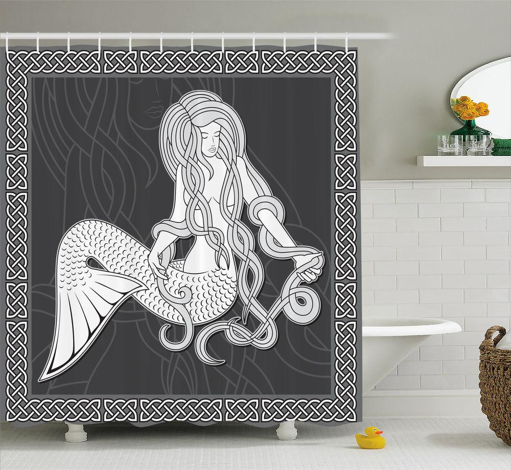 Mermaid Shower Curtain Retro Celtic Borders Bathroom Decor