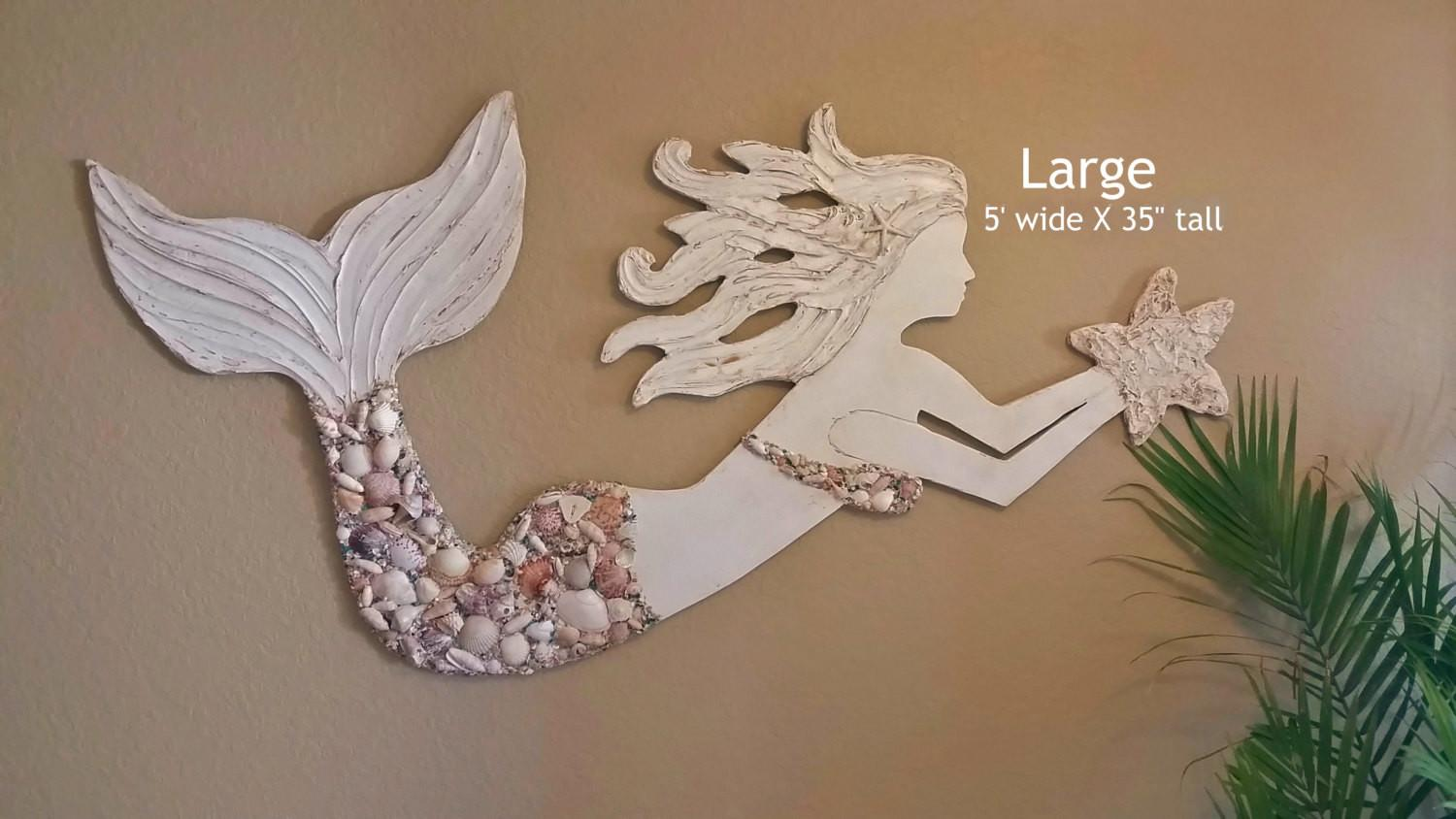 Mermaid Wall Art Large Handmade Wood Lucydesignsonline