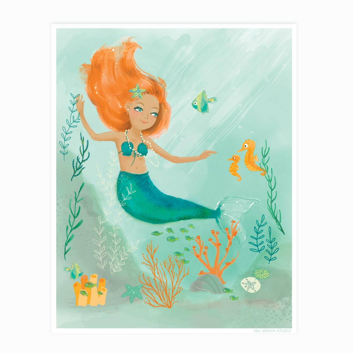 Mermaid Wall Art Nursery Decor Girls Kids Room