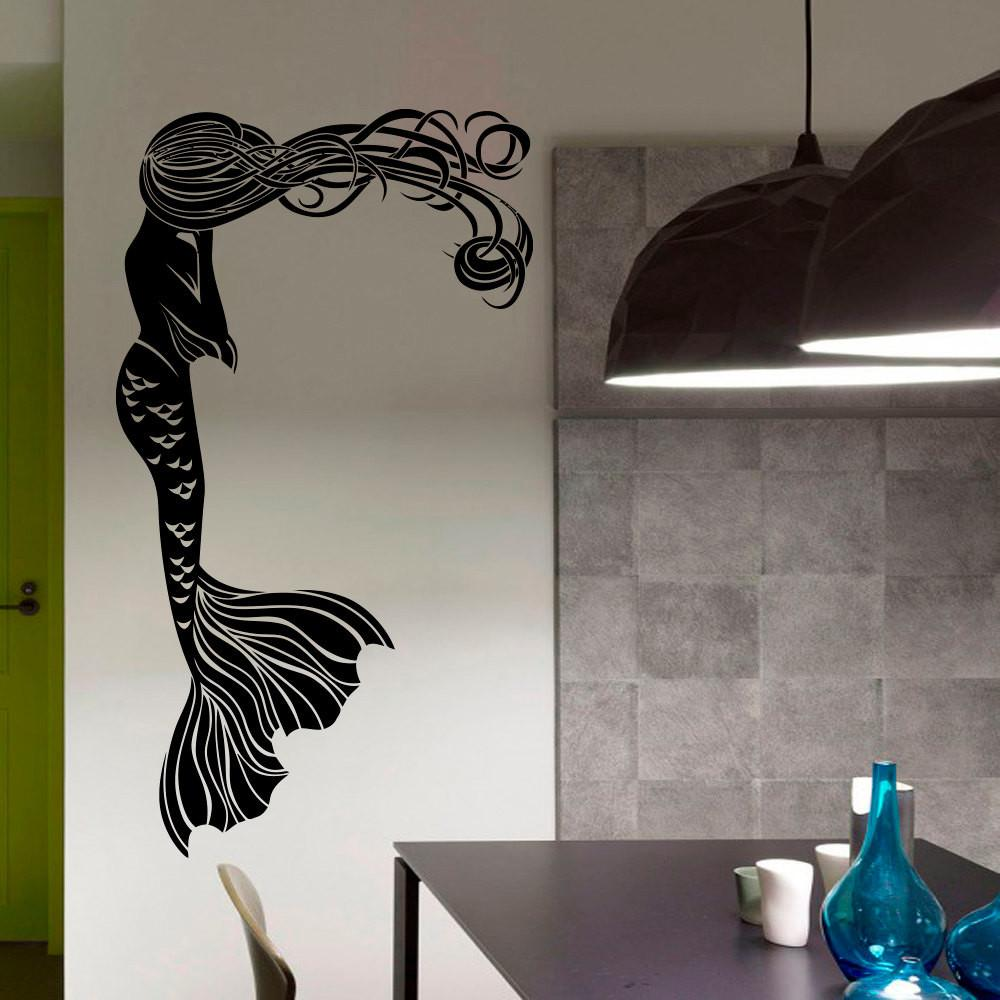 Mermaid Wall Decal Hair Girl Sea Ocean Bathroom Spa Salon