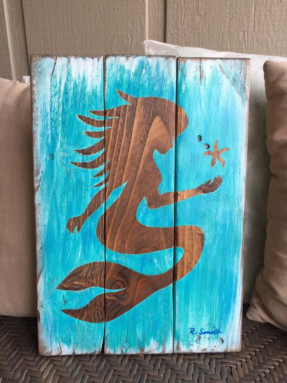 Mermaid Wall Decor Art Wood