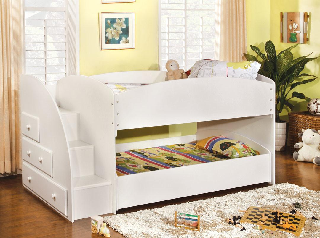 Merritt White Staircase Bunk Bed Andrew Furniture