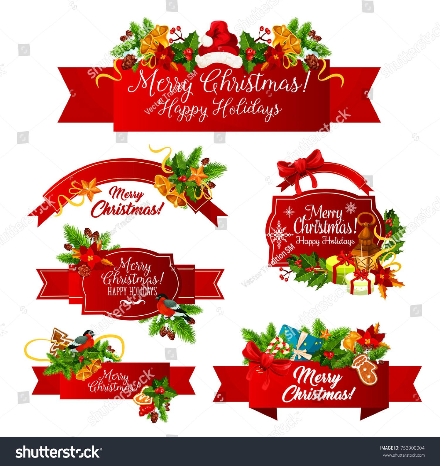 Merry Christmas Greeting Happy Holiday Wishes Stock Vector