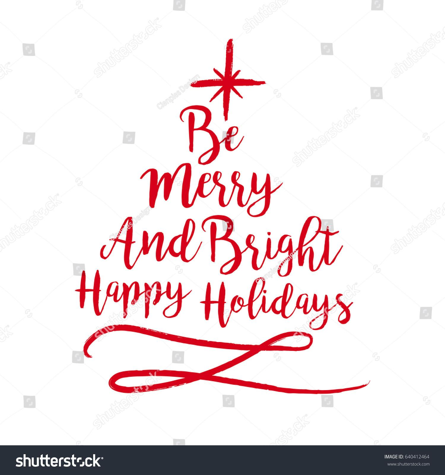Merry Christmas Tree Shape Calligraphy Quote Stock Vector
