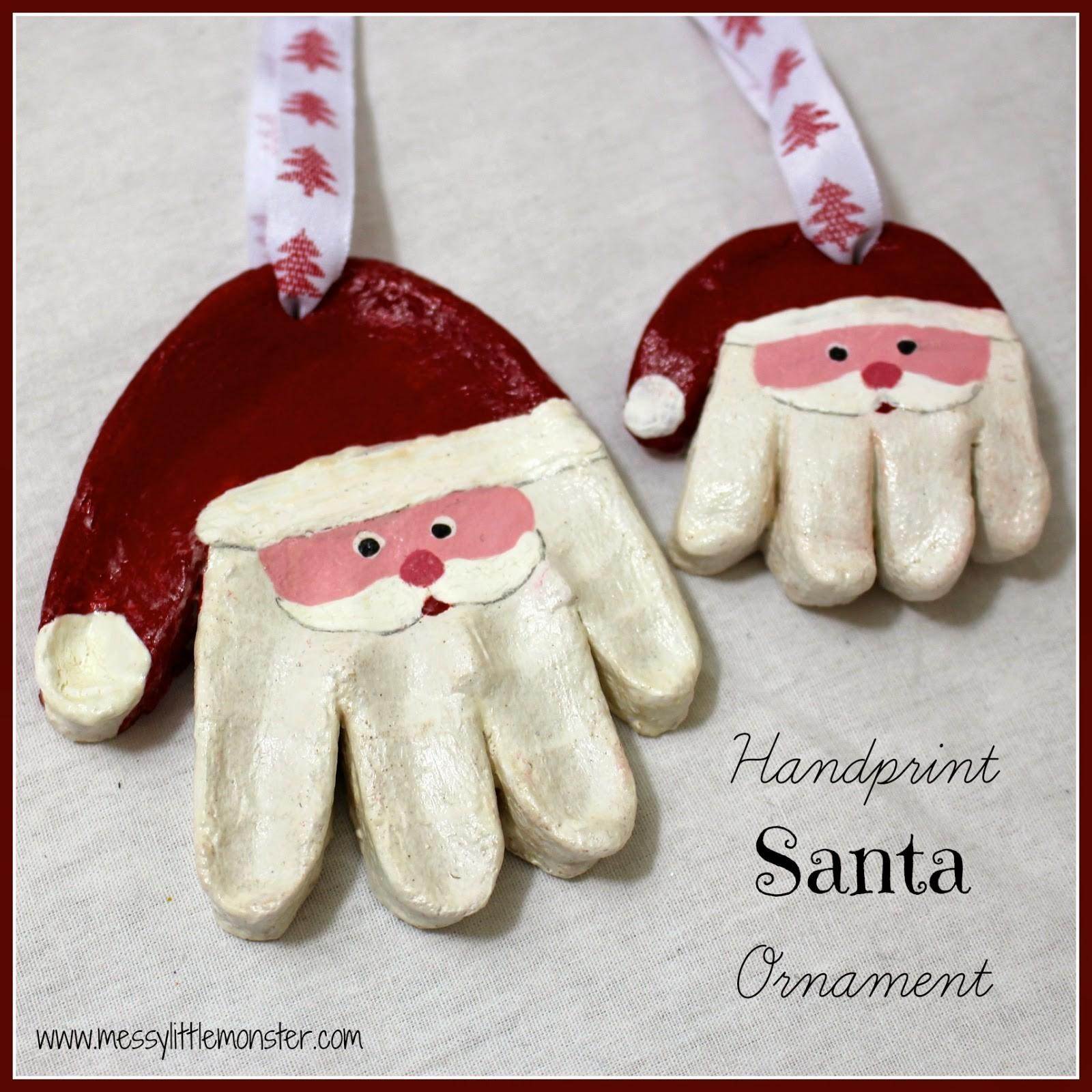 Messy Little Monster Santa Handprint Ornaments