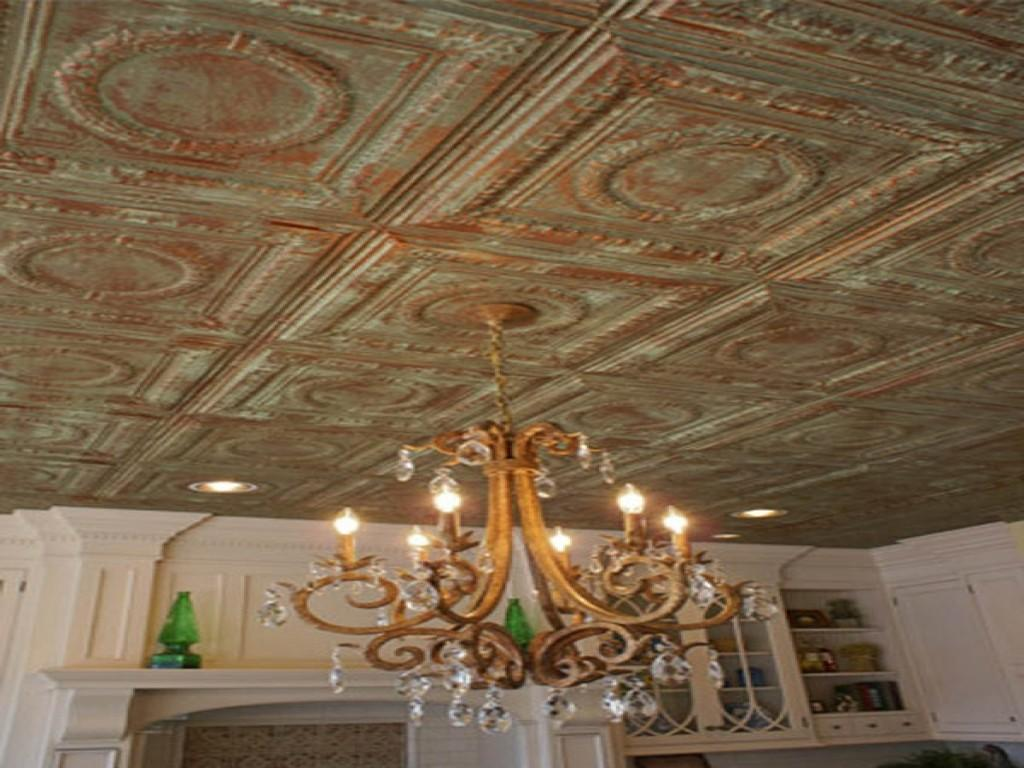Metal Ceiling Tiles Distressed Painted Tin